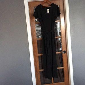 Black one piece short sleeve jumpsuit